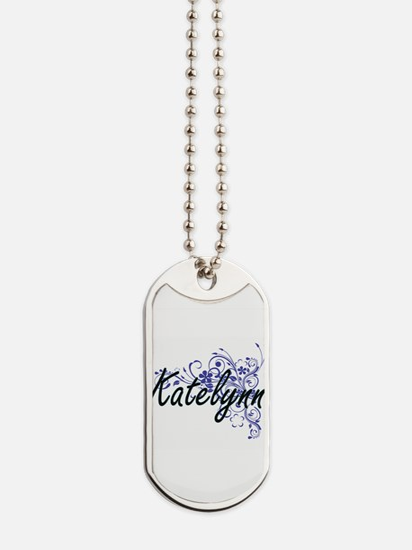 Katelynn Artistic Name Design with Flower Dog Tags