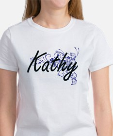 Kathy Artistic Name Design with Flowers T-Shirt