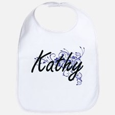 Kathy Artistic Name Design with Flowers Bib