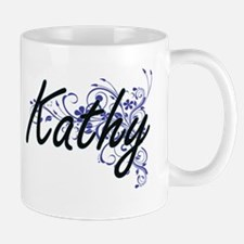 Kathy Artistic Name Design with Flowers Mugs