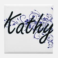 Kathy Artistic Name Design with Flowe Tile Coaster