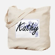 Kathy Artistic Name Design with Flowers Tote Bag