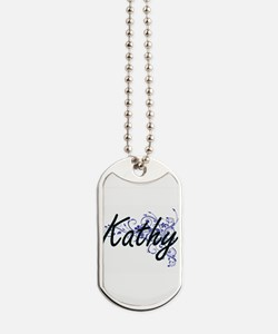 Kathy Artistic Name Design with Flowers Dog Tags