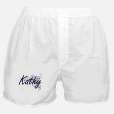 Kathy Artistic Name Design with Flowe Boxer Shorts