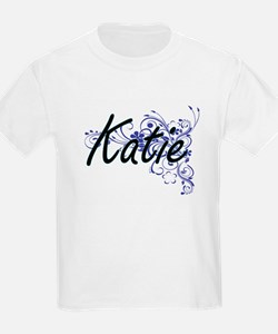 Katie Artistic Name Design with Flowers T-Shirt