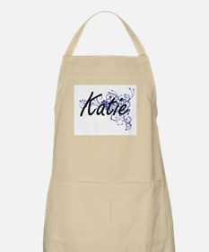 Katie Artistic Name Design with Flowers Apron