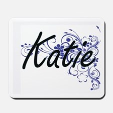 Katie Artistic Name Design with Flowers Mousepad