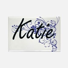 Katie Artistic Name Design with Flowers Magnets