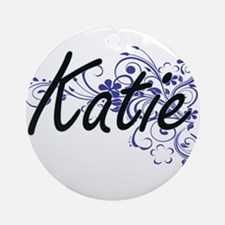 Katie Artistic Name Design with Flo Round Ornament