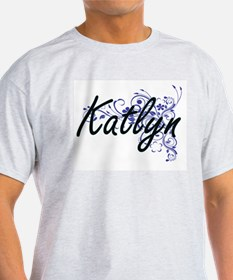 Katlyn Artistic Name Design with Flowers T-Shirt