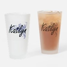 Katlyn Artistic Name Design with Fl Drinking Glass