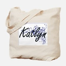 Katlyn Artistic Name Design with Flowers Tote Bag