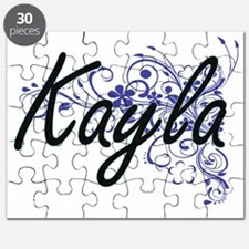 Kayla Artistic Name Design with Flowers Puzzle