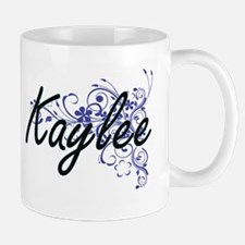 Kaylee Artistic Name Design with Flowers Mugs