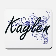 Kaylen Artistic Name Design with Flowers Mousepad
