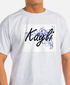Kayli Artistic Name Design with Flowers T-Shirt
