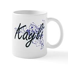 Kayli Artistic Name Design with Flowers Mugs