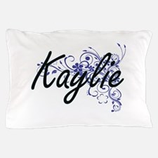 Kaylie Artistic Name Design with Flowe Pillow Case