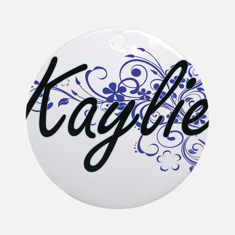 Kaylie Artistic Name Design with Fl Round Ornament