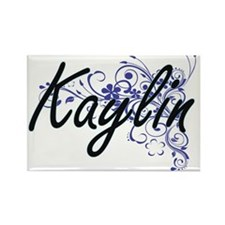 Kaylin Artistic Name Design with Flowers Magnets