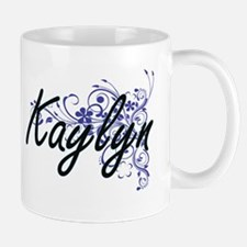 Kaylyn Artistic Name Design with Flowers Mugs