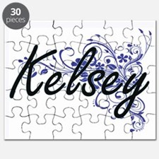 Kelsey Artistic Name Design with Flowers Puzzle