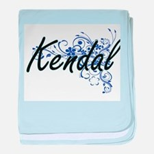 Kendal Artistic Name Design with Flow baby blanket