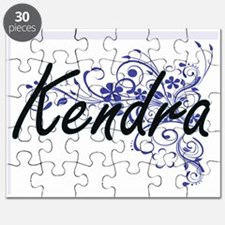 Kendra Artistic Name Design with Flowers Puzzle