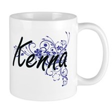 Kenna Artistic Name Design with Flowers Mugs