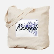 Kennedi Artistic Name Design with Flowers Tote Bag
