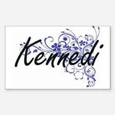 Kennedi Artistic Name Design with Flowers Decal