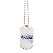 Kennedi Artistic Name Design with Flowers Dog Tags