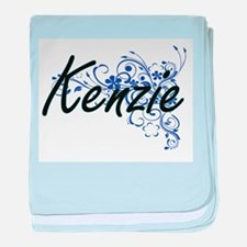 Kenzie Artistic Name Design with Flow baby blanket
