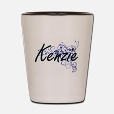 Kenzie Artistic Name Design with Flower Shot Glass