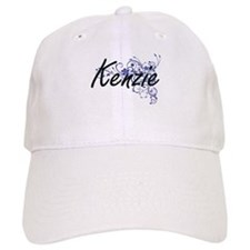 Kenzie Artistic Name Design with Flowers Baseball Cap