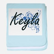 Keyla Artistic Name Design with Flowe baby blanket