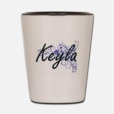 Keyla Artistic Name Design with Flowers Shot Glass