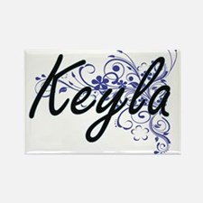 Keyla Artistic Name Design with Flowers Magnets
