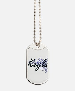 Keyla Artistic Name Design with Flowers Dog Tags