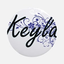 Keyla Artistic Name Design with Flo Round Ornament