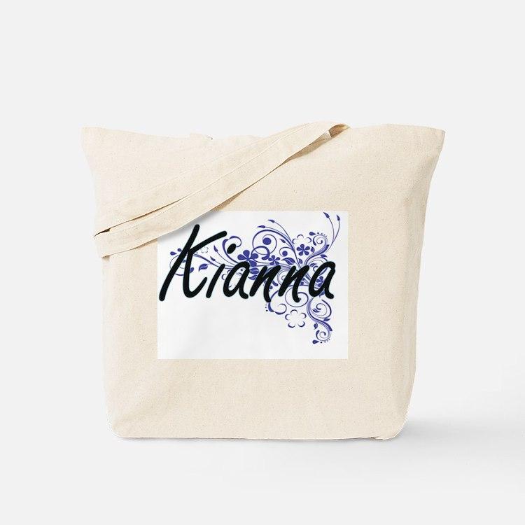 Kianna Artistic Name Design with Flowers Tote Bag