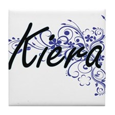 Kiera Artistic Name Design with Flowe Tile Coaster