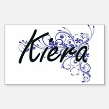Kiera Artistic Name Design with Flowers Decal