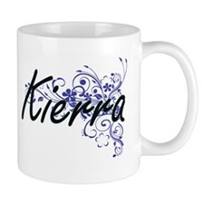 Kierra Artistic Name Design with Flowers Mugs