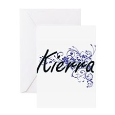 Kierra Artistic Name Design with Fl Greeting Cards