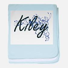 Kiley Artistic Name Design with Flowe baby blanket