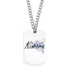 Kimora Artistic Name Design with Flowers Dog Tags