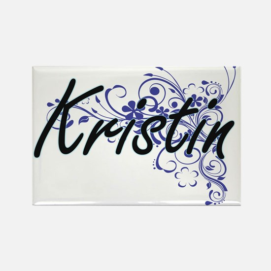 Kristin Artistic Name Design with Flowers Magnets