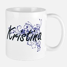 Kristina Artistic Name Design with Flowers Mugs