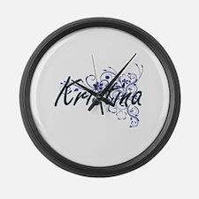 Kristina Artistic Name Design wit Large Wall Clock